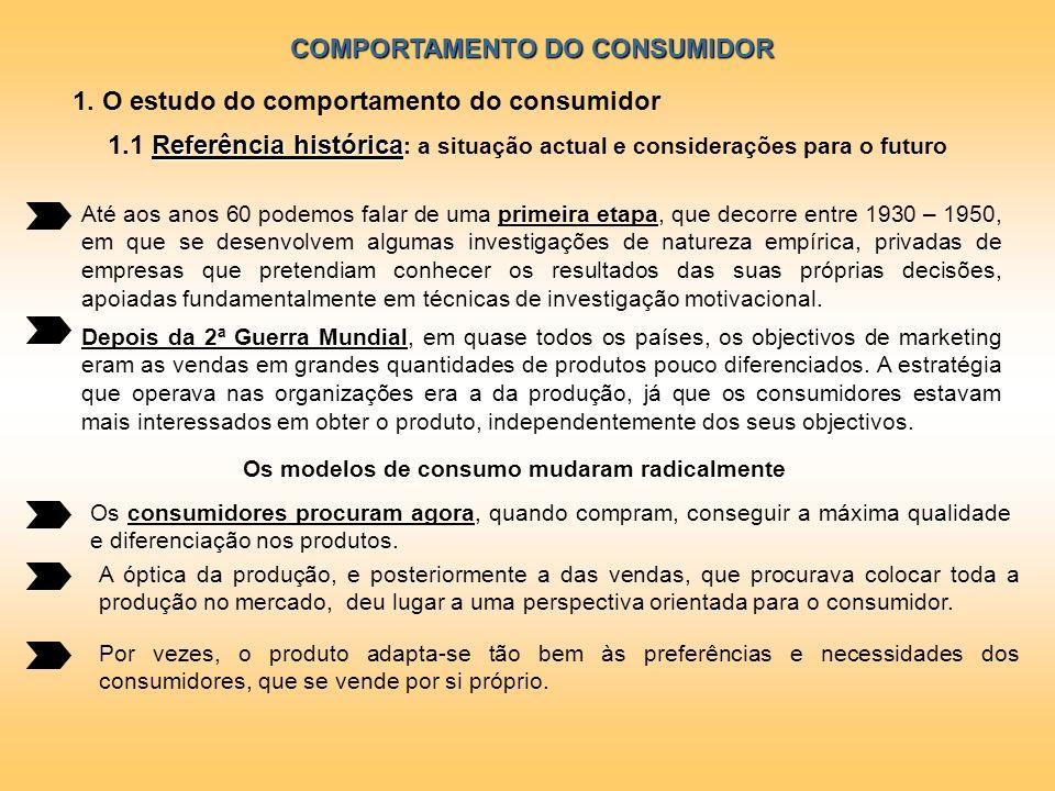 COMPORTAMENTO DO CONSUMIDOR 1. O estudo do comportamento do consumidor Até aos anos 60 podemos falar de uma primeira etapa, que decorre entre 1930 – 1