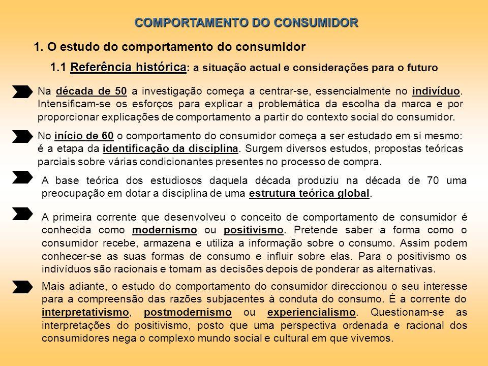 COMPORTAMENTO DO CONSUMIDOR 1. O estudo do comportamento do consumidor Na década de 50 a investigação começa a centrar-se, essencialmente no indivíduo