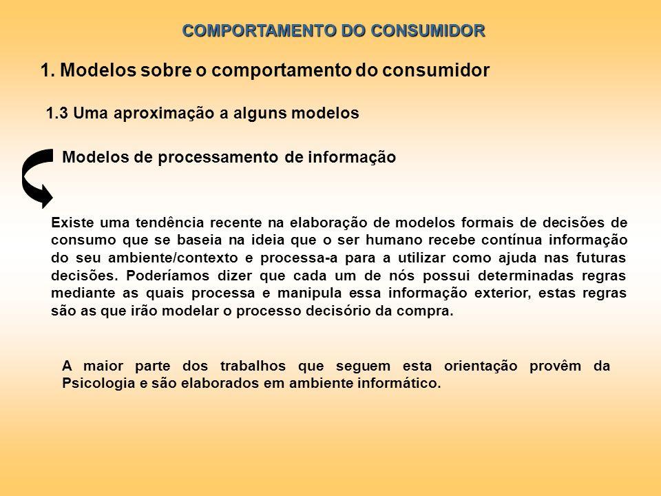 COMPORTAMENTO DO CONSUMIDOR 1.3 Uma aproximação a alguns modelos Modelos de processamento de informação A maior parte dos trabalhos que seguem esta or