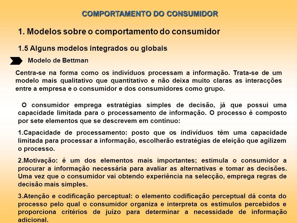 COMPORTAMENTO DO CONSUMIDOR Modelo de Bettman 1. Modelos sobre o comportamento do consumidor 1.5 Alguns modelos integrados ou globais Centra-se na for