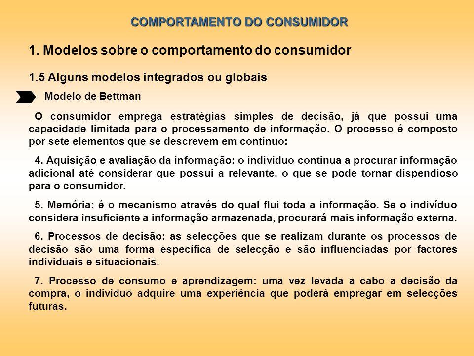COMPORTAMENTO DO CONSUMIDOR Modelo de Bettman 1. Modelos sobre o comportamento do consumidor 1.5 Alguns modelos integrados ou globais O consumidor emp