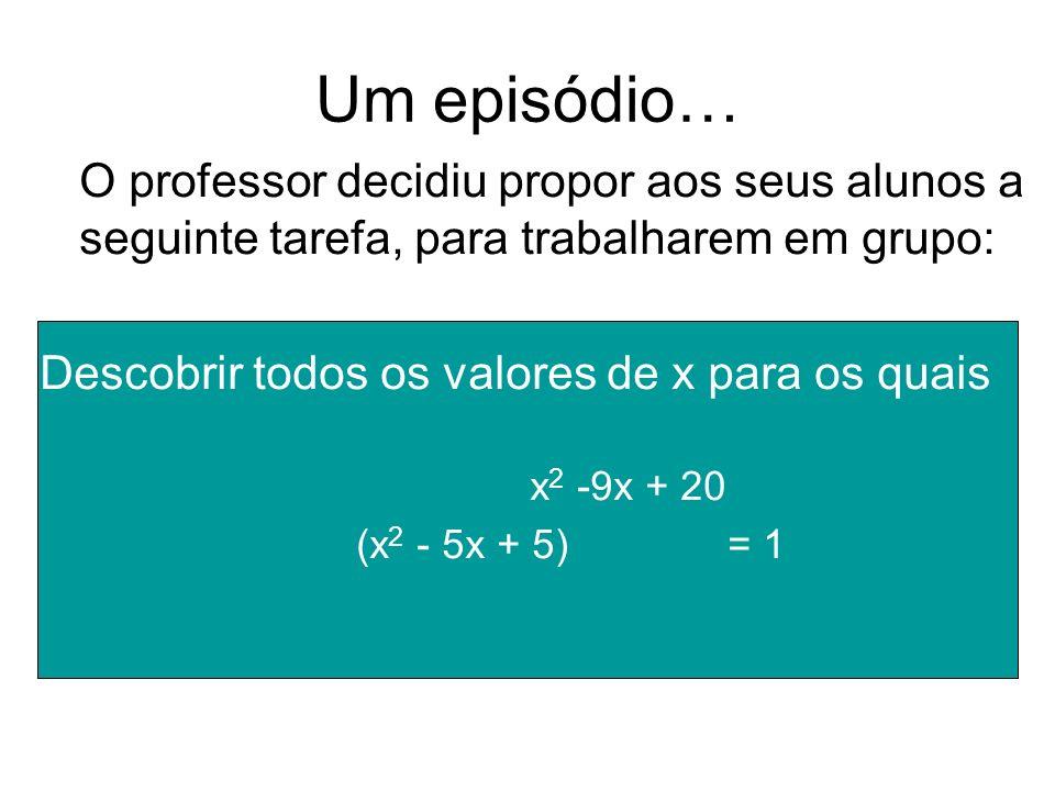 Um episódio… O professor decidiu propor aos seus alunos a seguinte tarefa, para trabalharem em grupo: Descobrir todos os valores de x para os quais x