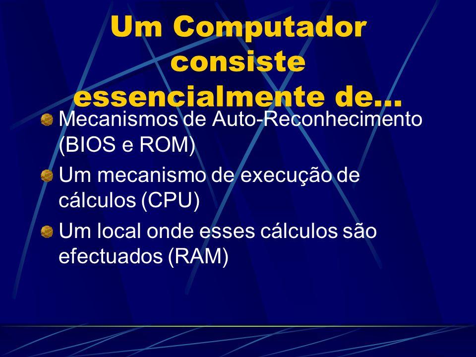 Um Computador consiste essencialmente de... Mecanismos de Auto-Reconhecimento (BIOS e ROM) Um mecanismo de execução de cálculos (CPU) Um local onde es