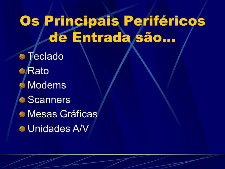 Os Principais Periféricos de Entrada são... Teclado Rato Modems Scanners Mesas Gráficas Unidades A/V