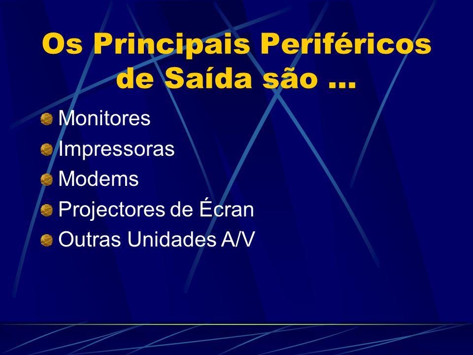 Os Principais Periféricos de Saída são... Monitores Impressoras Modems Projectores de Écran Outras Unidades A/V