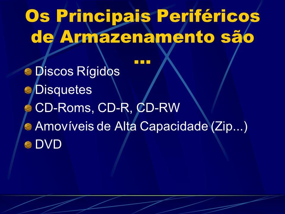 Os Principais Periféricos de Armazenamento são... Discos Rígidos Disquetes CD-Roms, CD-R, CD-RW Amovíveis de Alta Capacidade (Zip...) DVD
