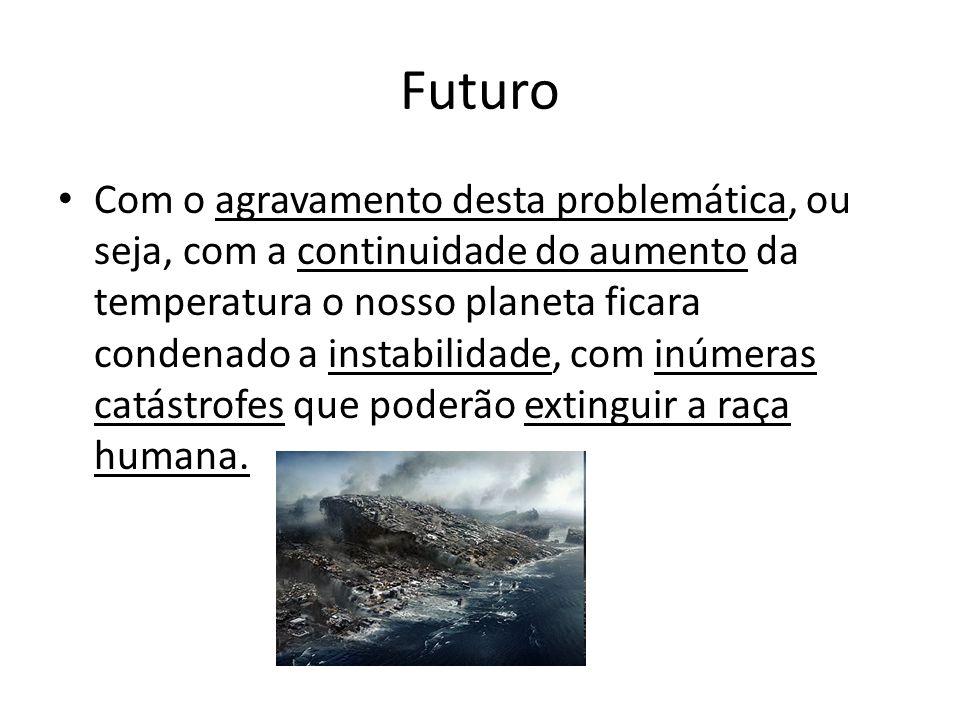 Futuro Com o agravamento desta problemática, ou seja, com a continuidade do aumento da temperatura o nosso planeta ficara condenado a instabilidade, c