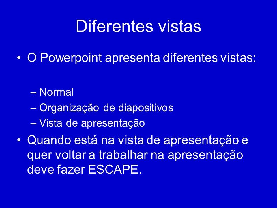 Diferentes vistas O Powerpoint apresenta diferentes vistas: –Normal –Organização de diapositivos –Vista de apresentação Quando está na vista de aprese