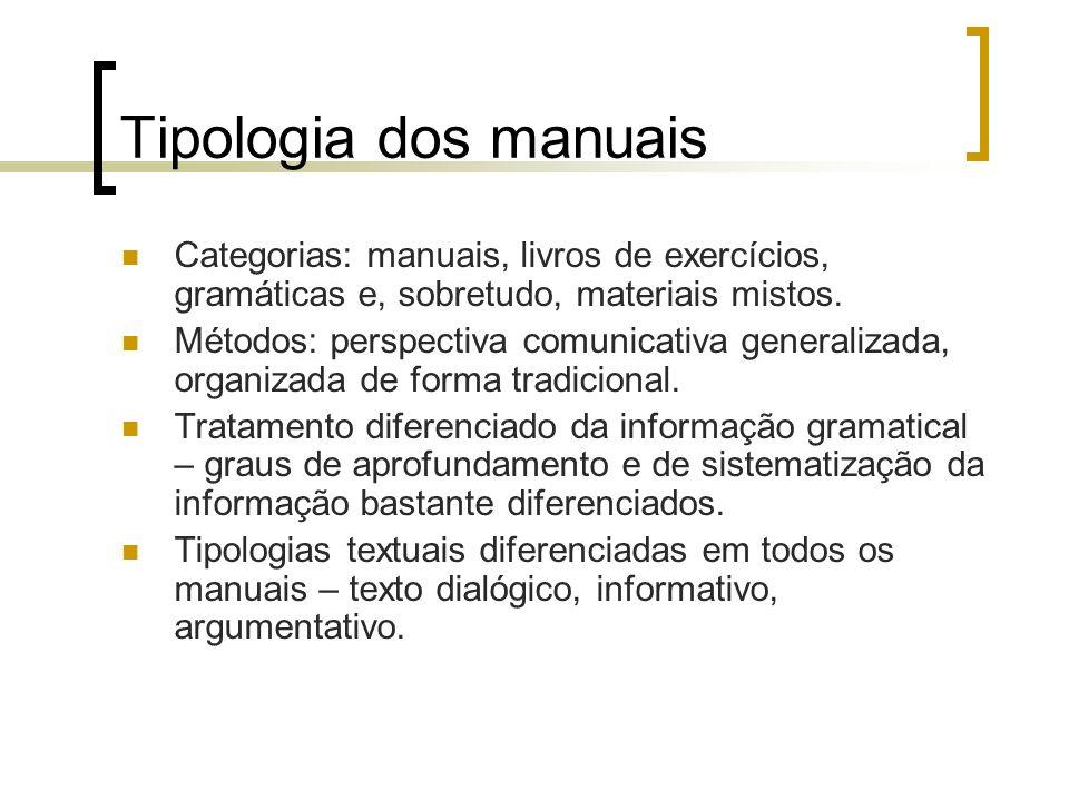 Tipologia dos manuais Categorias: manuais, livros de exercícios, gramáticas e, sobretudo, materiais mistos. Métodos: perspectiva comunicativa generali