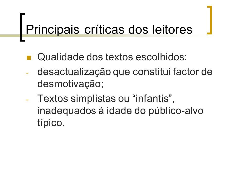 Principais críticas dos leitores Qualidade dos textos escolhidos: - desactualização que constitui factor de desmotivação; - Textos simplistas ou infan