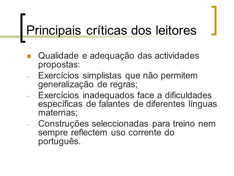 Principais críticas dos leitores Qualidade e adequação das actividades propostas: - Exercícios simplistas que não permitem generalização de regras; -