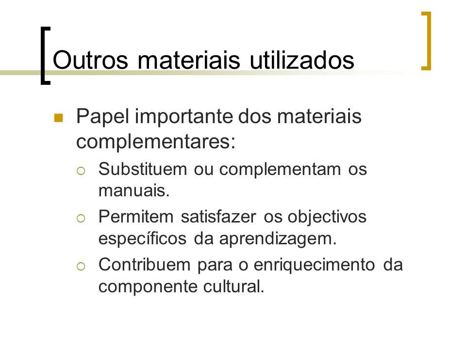 Outros materiais utilizados Papel importante dos materiais complementares: Substituem ou complementam os manuais. Permitem satisfazer os objectivos es