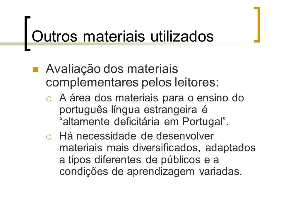 Outros materiais utilizados Avaliação dos materiais complementares pelos leitores: A área dos materiais para o ensino do português língua estrangeira