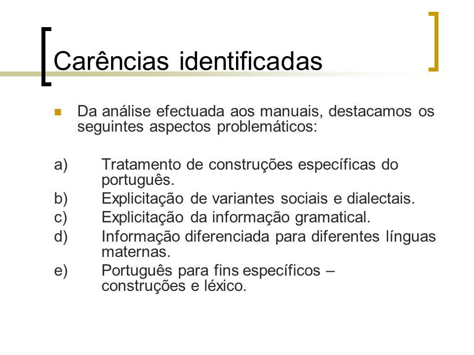 Carências identificadas Da análise efectuada aos manuais, destacamos os seguintes aspectos problemáticos: a)Tratamento de construções específicas do p