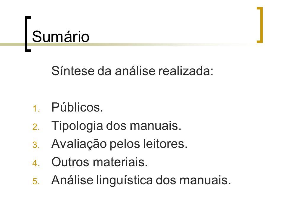 Sumário Síntese da análise realizada: 1. Públicos. 2. Tipologia dos manuais. 3. Avaliação pelos leitores. 4. Outros materiais. 5. Análise linguística