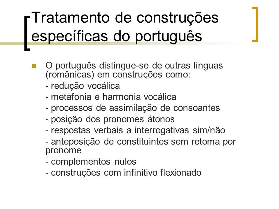 Tratamento de construções específicas do português O português distingue-se de outras línguas (românicas) em construções como: - redução vocálica - me