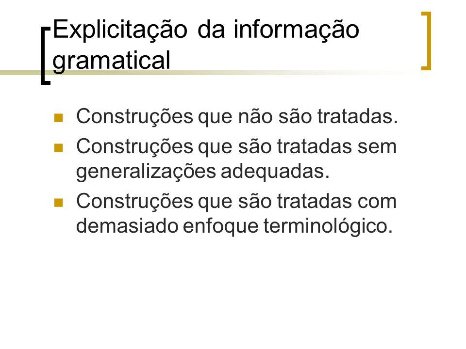 Explicitação da informação gramatical Construções que não são tratadas. Construções que são tratadas sem generalizações adequadas. Construções que são