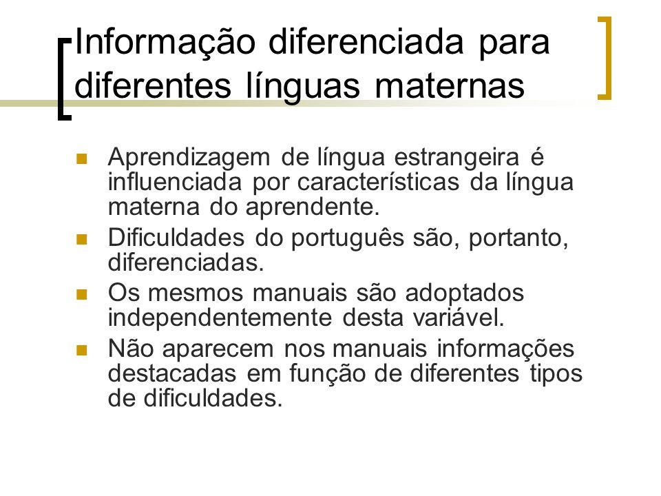 Informação diferenciada para diferentes línguas maternas Aprendizagem de língua estrangeira é influenciada por características da língua materna do ap