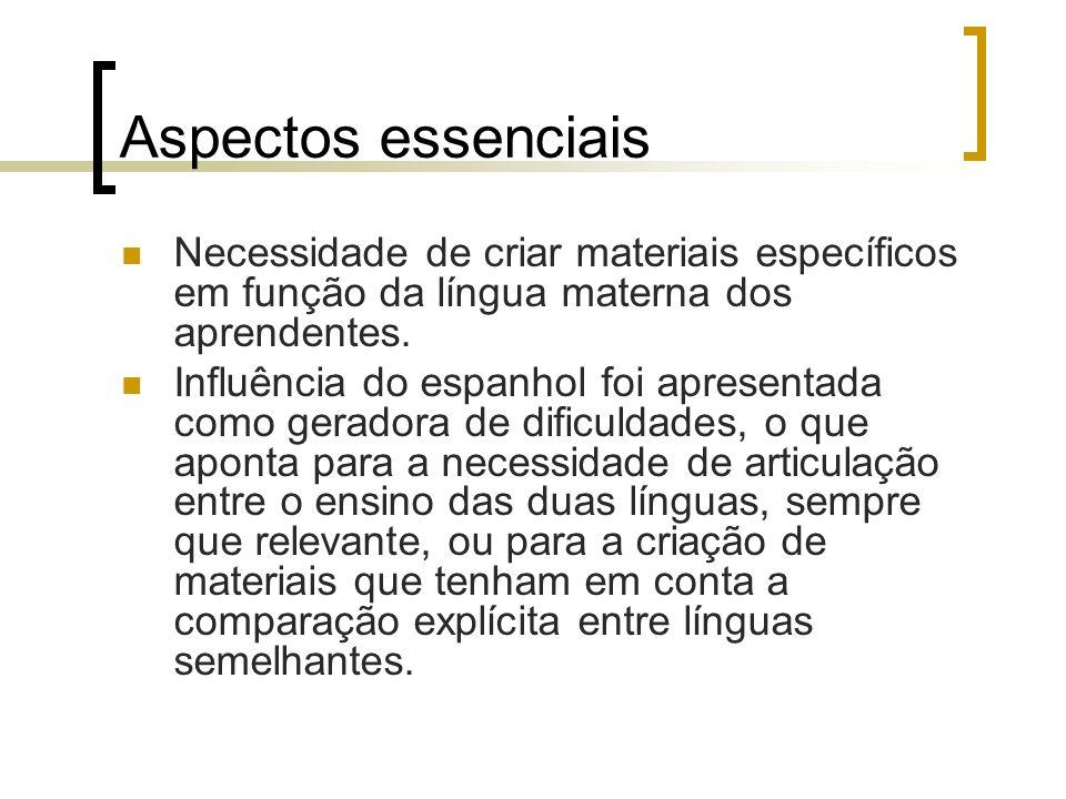 Aspectos essenciais Necessidade de criar materiais específicos em função da língua materna dos aprendentes. Influência do espanhol foi apresentada com