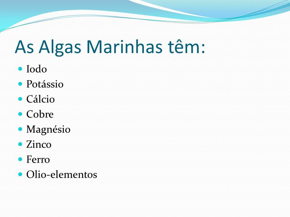 As Algas Marinhas têm: Iodo Potássio Cálcio Cobre Magnésio Zinco Ferro Olio-elementos