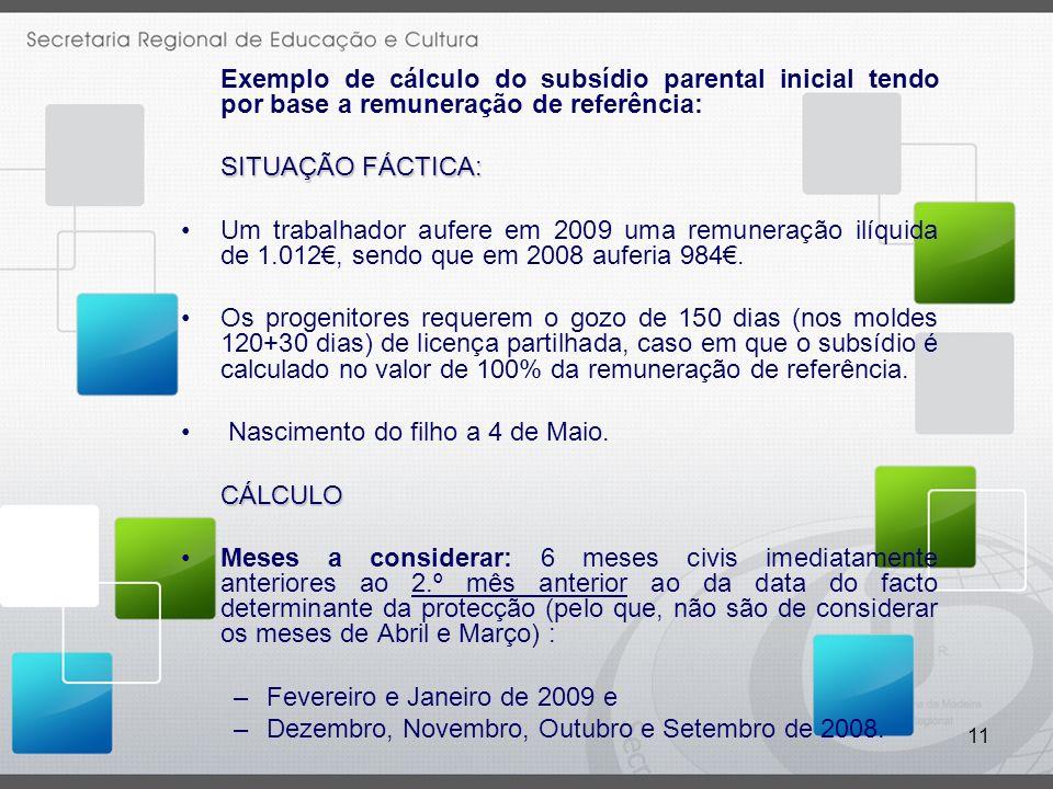 11 Exemplo de cálculo do subsídio parental inicial tendo por base a remuneração de referência: SITUAÇÃO FÁCTICA: Um trabalhador aufere em 2009 uma remuneração ilíquida de 1.012, sendo que em 2008 auferia 984.