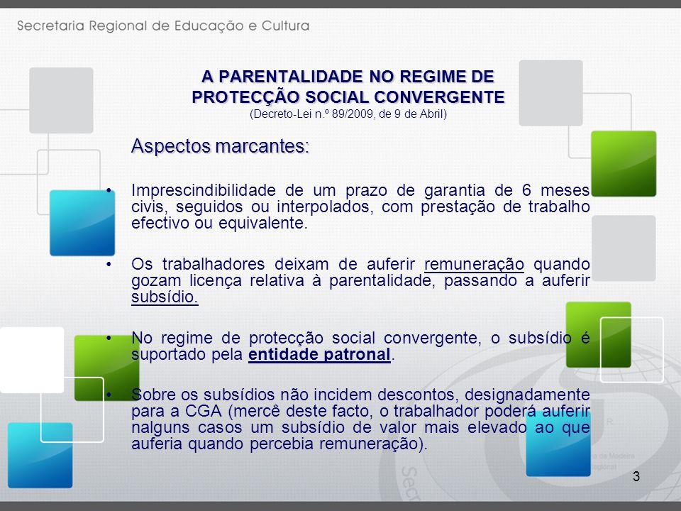 3 A PARENTALIDADE NO REGIME DE PROTECÇÃO SOCIAL CONVERGENTE (Decreto-Lei n.º 89/2009, de 9 de Abril) Aspectos marcantes: Imprescindibilidade de um pra