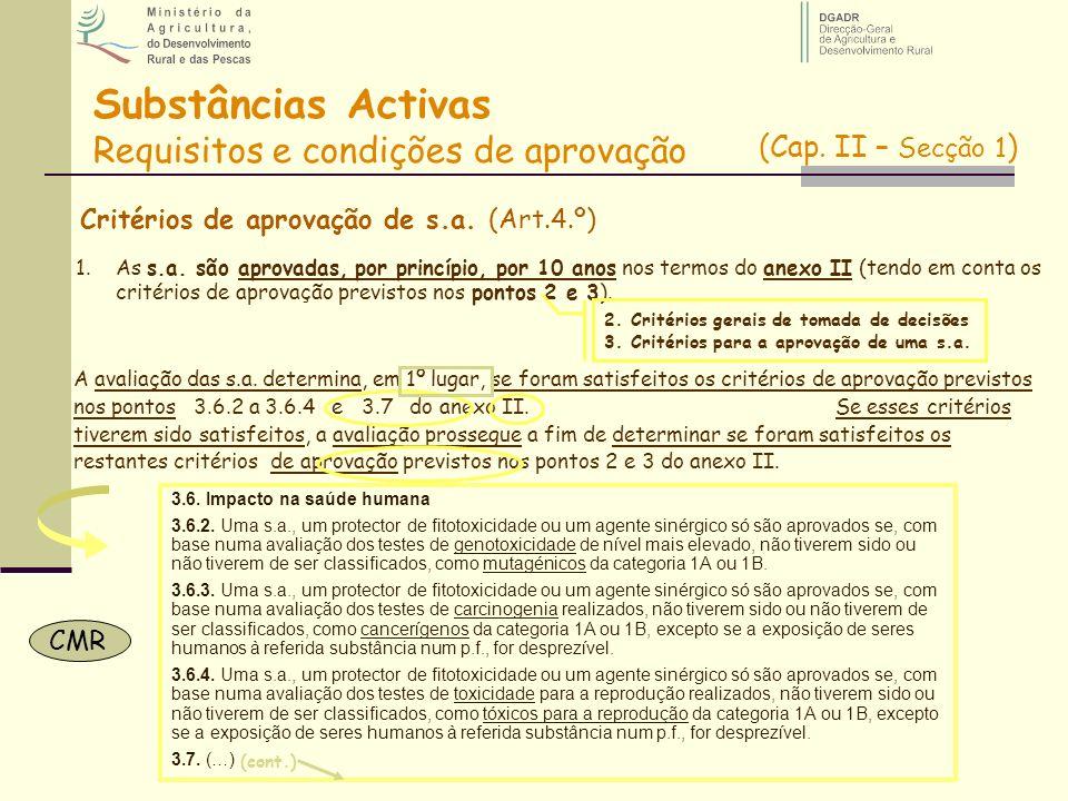 Critérios de aprovação de s.a. (Art.4.º) 1.As s.a. são aprovadas, por princípio, por 10 anos nos termos do anexo II (tendo em conta os critérios de ap