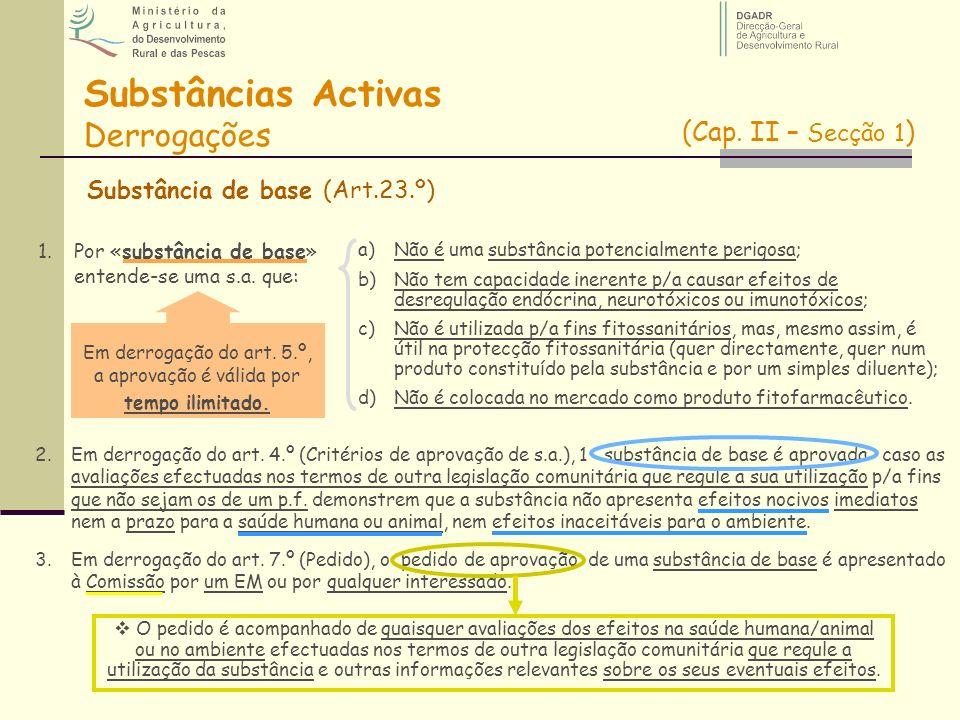 Substância de base (Art.23.º) Substâncias Activas Derrogações 1.Por «substância de base» entende-se uma s.a. que: a)Não é uma substância potencialment