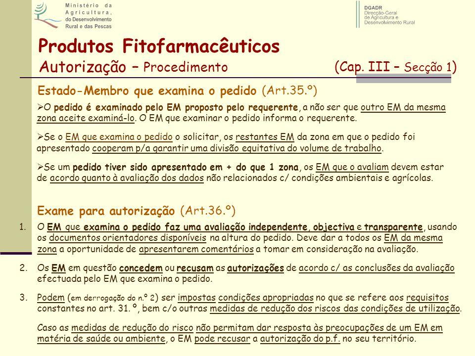 Produtos Fitofarmacêuticos Autorização – Procedimento (Cap. III – Secção 1 ) Estado-Membro que examina o pedido (Art.35.º) O pedido é examinado pelo E