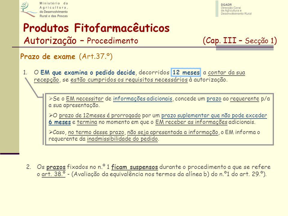 Produtos Fitofarmacêuticos Autorização – Procedimento (Cap. III – Secção 1 ) Prazo de exame (Art.37.º) 1.O EM que examina o pedido decide, decorridos