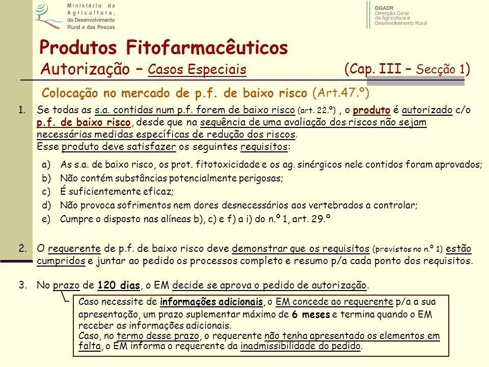 Colocação no mercado de p.f. de baixo risco (Art.47.º) 1.Se todas as s.a. contidas num p.f. forem de baixo risco (art. 22.º), o produto é autorizado c