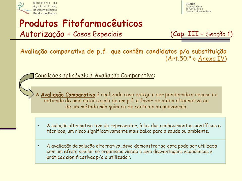 Avaliação comparativa de p.f. que contêm candidatos p/a substituição (Art.50.º e Anexo IV) A Avaliação Comparativa é realizada caso esteja a ser ponde