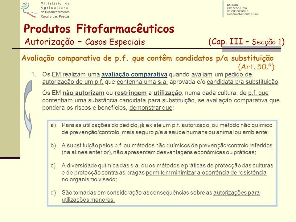 Avaliação comparativa de p.f. que contêm candidatos p/a substituição (Art. 50.º) 1.Os EM realizam uma avaliação comparativa quando avaliam um pedido d