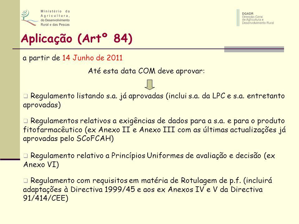 Aplicação (Artº 84) a partir de 14 Junho de 2011 Até esta data COM deve aprovar: Regulamento listando s.a. já aprovadas (inclui s.a. da LPC e s.a. ent