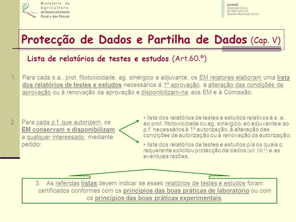 Lista de relatórios de testes e estudos (Art.60.º) Protecção de Dados e Partilha de Dados (Cap. V) 1.Para cada s.a., prot. fitotoxicidade, ag. sinérgi