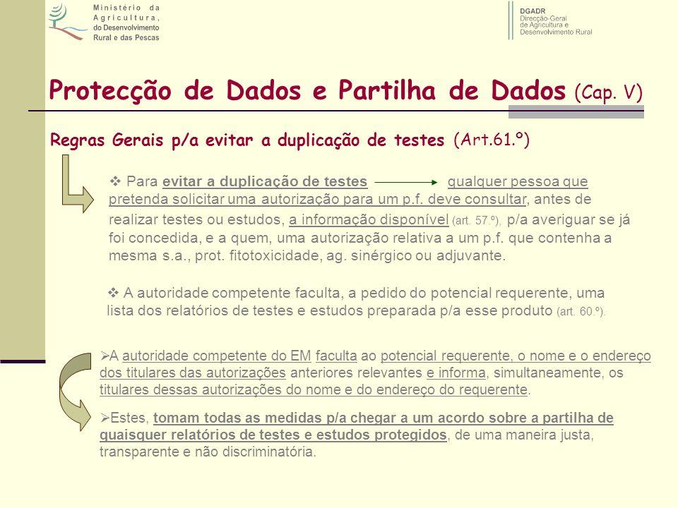 Protecção de Dados e Partilha de Dados (Cap. V) Regras Gerais p/a evitar a duplicação de testes (Art.61.º) Para evitar a duplicação de testesqualquer