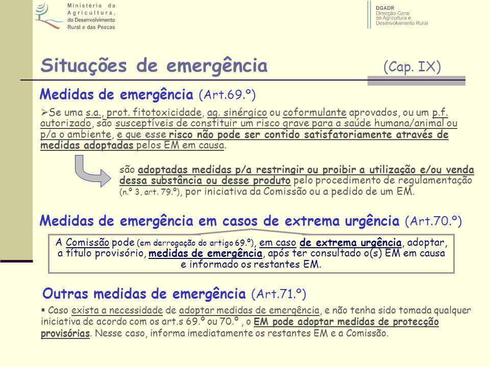 Situações de emergência (Cap. IX) Medidas de emergência (Art.69.º) Medidas de emergência em casos de extrema urgência (Art.70.º) Outras medidas de eme
