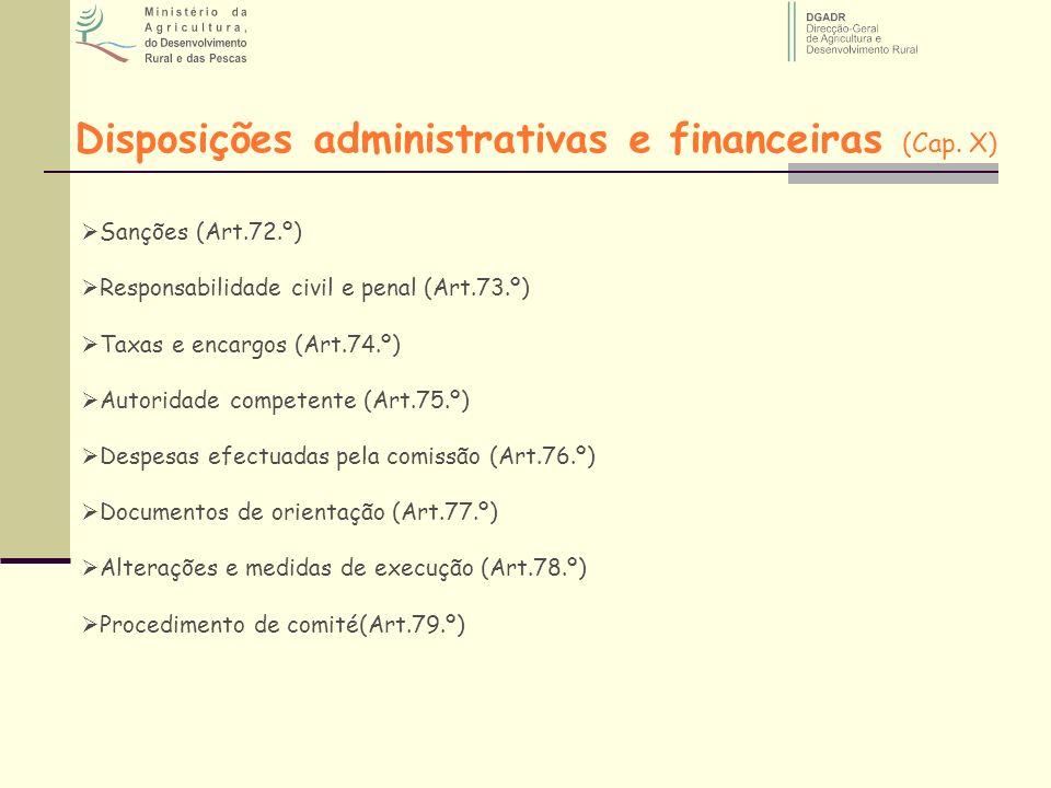 Disposições administrativas e financeiras (Cap. X) Sanções (Art.72.º) Responsabilidade civil e penal (Art.73.º) Taxas e encargos (Art.74.º) Autoridade