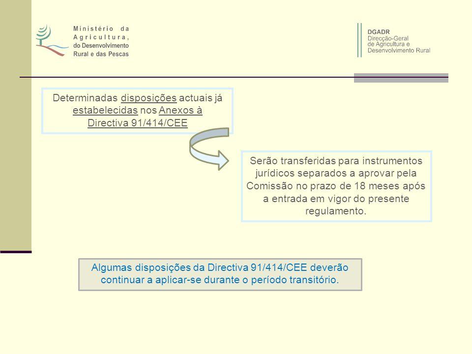 Determinadas disposições actuais já estabelecidas nos Anexos à Directiva 91/414/CEE Serão transferidas para instrumentos jurídicos separados a aprovar