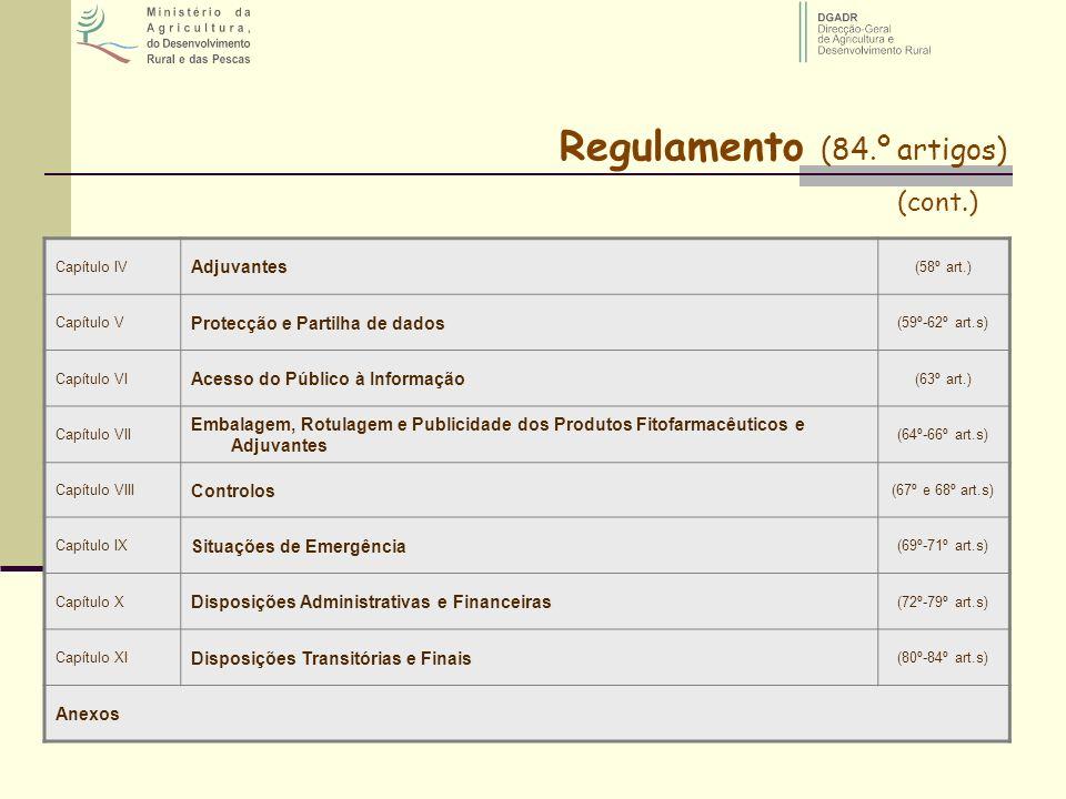 Capítulo IV Adjuvantes (58º art.) Capítulo V Protecção e Partilha de dados (59º-62º art.s) Capítulo VI Acesso do Público à Informação (63º art.) Capít