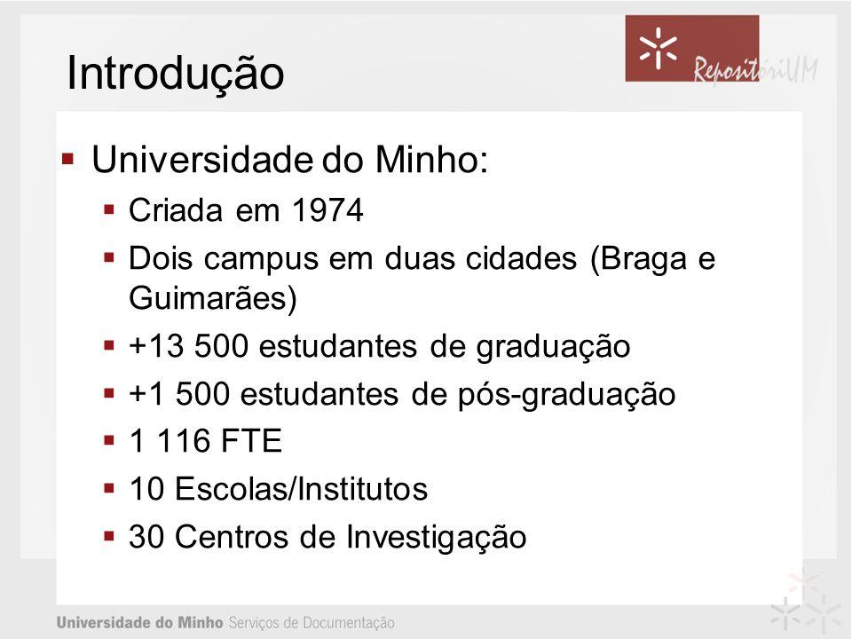 Introdução Universidade do Minho: Criada em 1974 Dois campus em duas cidades (Braga e Guimarães) +13 500 estudantes de graduação +1 500 estudantes de