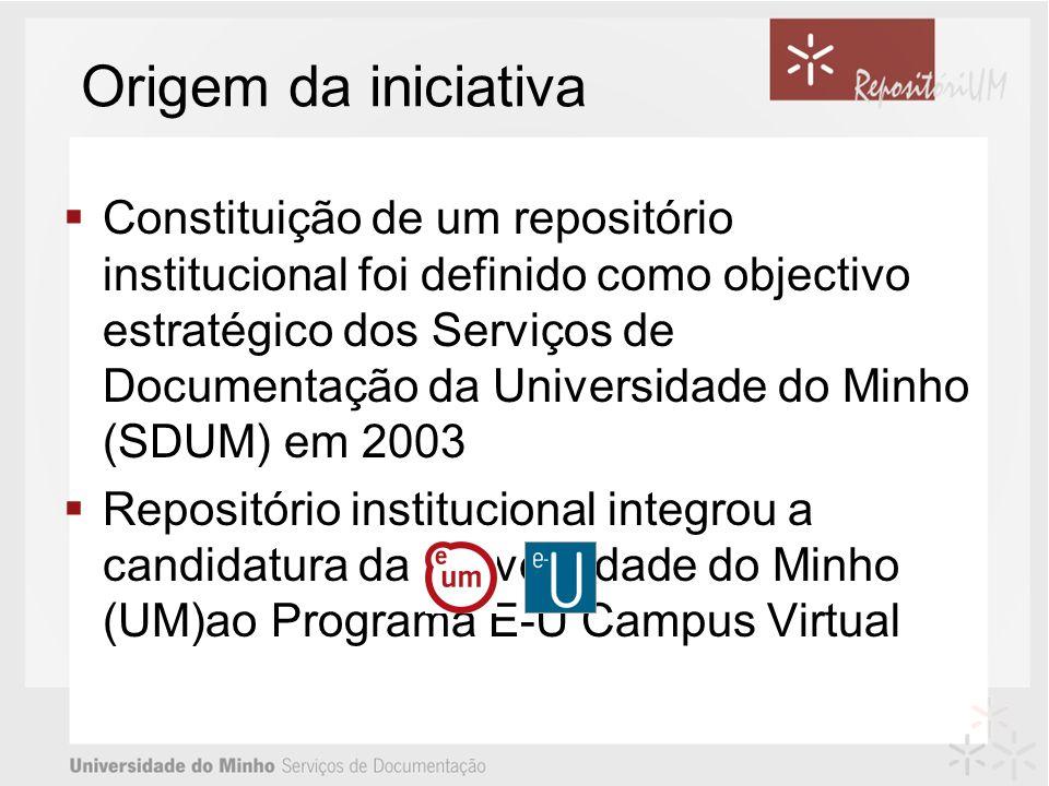 Origem da iniciativa Constituição de um repositório institucional foi definido como objectivo estratégico dos Serviços de Documentação da Universidade