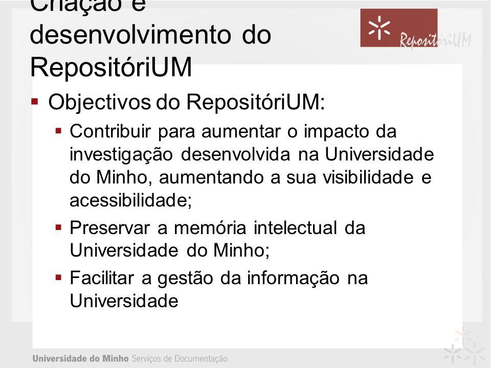 Criação e desenvolvimento do RepositóriUM Objectivos do RepositóriUM: Contribuir para aumentar o impacto da investigação desenvolvida na Universidade