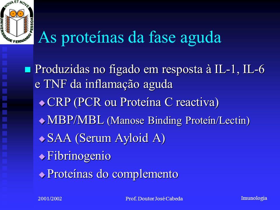 Imunologia 2001/2002Prof. Doutor José Cabeda As proteínas da fase aguda Produzidas no figado em resposta à IL-1, IL-6 e TNF da inflamação aguda Produz