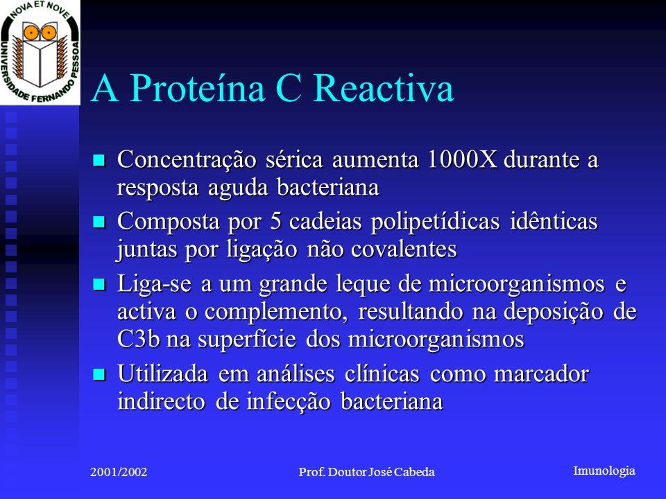 Imunologia 2001/2002Prof. Doutor José Cabeda A Proteína C Reactiva Concentração sérica aumenta 1000X durante a resposta aguda bacteriana Concentração