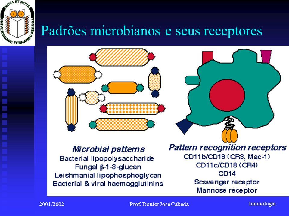 Imunologia 2001/2002Prof. Doutor José Cabeda Padrões microbianos e seus receptores