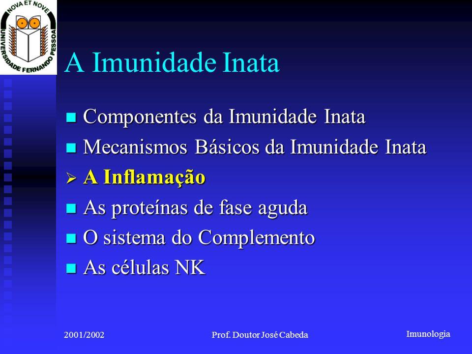 Imunologia 2001/2002Prof. Doutor José Cabeda A Imunidade Inata Componentes da Imunidade Inata Componentes da Imunidade Inata Mecanismos Básicos da Imu
