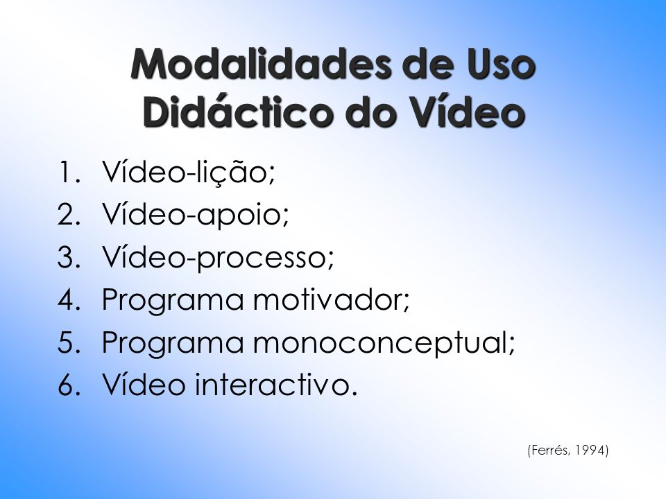 Modalidades de Uso Didáctico do Vídeo 1.Vídeo-lição; 2.Vídeo-apoio; 3.Vídeo-processo; 4.Programa motivador; 5.Programa monoconceptual; 6.Vídeo interac