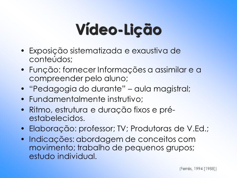 Vídeo-Lição Exposição sistematizada e exaustiva de conteúdos; Função: fornecer Informações a assimilar e a compreender pelo aluno; Pedagogia do durant