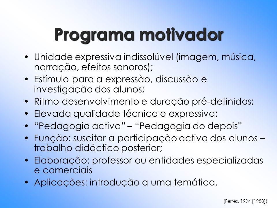 Programa motivador Unidade expressiva indissolúvel (imagem, música, narração, efeitos sonoros); Estímulo para a expressão, discussão e investigação do